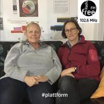 Ein Bild in der heutigen Plattform mit Roswitha Burgmayer und Frau Dr. Sabine Presuhn
