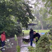 Vorstand Christian Lange mit vollem (Regenschirm-)Einsatz dabei! Dadurch leichtes Spiel für Geschäftsführer Timo! Fair Play-Wertung: 1