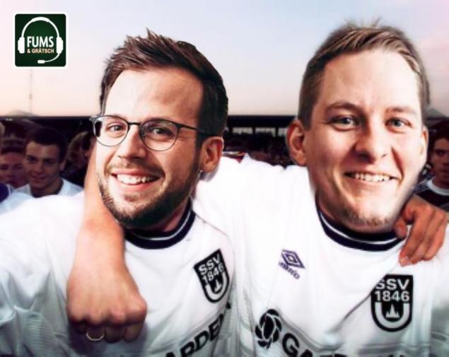 Die beiden Podcaster im Ulm-Trikot; Quelle: Fums&Grätsch